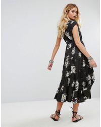 Free People | Black All I Got Maxi Dress In Floral Print | Lyst