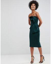 ASOS - Green Asos Bandeau Fold Bow Front Scuba Midi Dress - Lyst