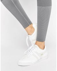 Gola - Harrier Mono Sneakers In White And Nude Leather - Lyst