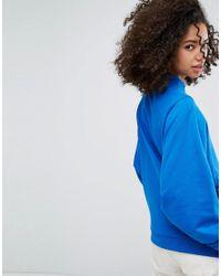 Monki - Blue Balloon Sleeve Ring Pull Zip Sweat Jumper - Lyst