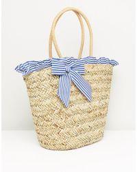 South Beach - Blue Stripe Ruffle & Bow Straw Bag - Lyst