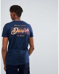 ASOS - Blue Design T-shirt In Navy With Denver Back Print for Men - Lyst
