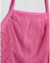 ASOS - Pink Beach String Shopper Bag - Lyst
