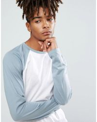 ASOS - Blue Long Sleeve T-shirt With Contrast Raglan Sleeves for Men - Lyst