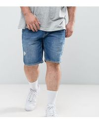 ASOS - Plus Skinny Denim Shorts In Mid Wash Blue With Rip And Repair for Men - Lyst