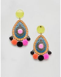 ASOS - Multicolor Design Resin And Jewel Cut Out Disc Pom Earrings - Lyst