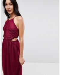 ASOS - Red Dobby High Neck Midi Dress With Cut Out Sides - Lyst
