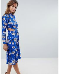 ASOS - Pink Bright Floral High Neck Cut Out Midi Dress - Lyst