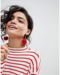 Ashiana - Red Pom Pom Earrings - Lyst