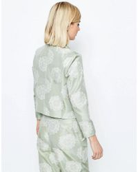 ASOS - Green Jacquard Occasion Cropped Blazer Co-ord - Lyst