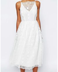 ASOS - White Premium Occasion Midi Dress In Geo Lace - Lyst