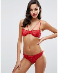 ASOS - Red Josie Fishnet & Lace Strappy Thong - Lyst