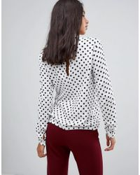 Blend She - White Melly Dot Print Blouse - Lyst