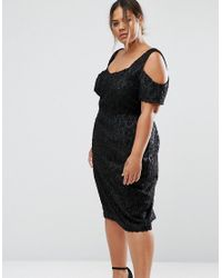 ce8058f4 Women's Black Cold Shoulder Bardot Pencil Dress In Textured Sparkle Jacquard