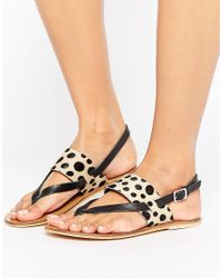 Warehouse | Multicolor Animal Toe Post Sandal | Lyst