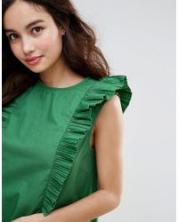 Fashion Union - Green High Neck Dress With Frills - Lyst