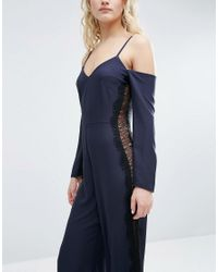 ASOS - Blue Jumpsuit With Cold Shoulder And Lace Side Detail - Lyst