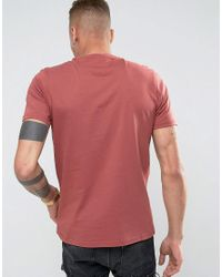 Farah - Haven Slim Fit Logo Text T-shirt Red for Men - Lyst