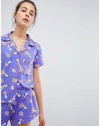 Chelsea Peers - Blue Space Short Pyjama Set - Lyst