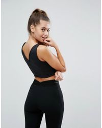 ASOS - Black Top With Deep Plunge In Scuba - Lyst