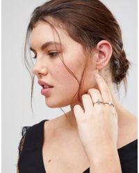 ASOS - Metallic Pack Of 2 Hamsa Hand And Pretty Stone Rings - Lyst