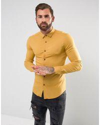 ASOS | Yellow Skinny Viscose Shirt In Mustard for Men | Lyst