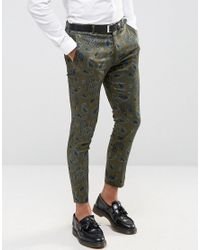 ASOS - Green Super Skinny Crop Smart Trousers In Khaki for Men - Lyst