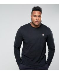 ce702540b8ef Fila Plus Long Sleeve T-shirt With Small Logo In Black in Black for ...