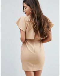 ASOS - Natural Double Layer Mini Wiggle Dress With Angel Sleeve - Lyst