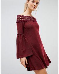 AX Paris - Purple Off Shoulder Dress - Lyst