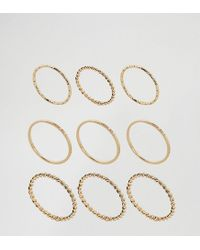 ASOS   Metallic Pack Of 9 Fine Minimal Rings   Lyst