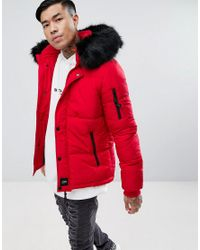 Sixth June Puffer Jacket In Red With Black Fur Hood for ...