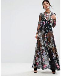 c9650a260d1a ASOS Asos Salon Embellished Bird Floral Maxi Dress in Black - Lyst