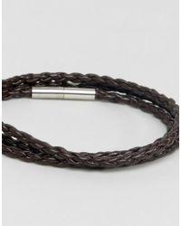 Seven London - Brown Braided Leather Wrap Bracelet for Men - Lyst