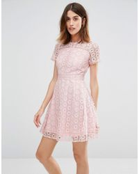 Warehouse | Pink Mixed Lace Prom Dress | Lyst