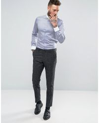 Hart Hollywood - Blue Slim Shirt With White Penny Collar for Men - Lyst