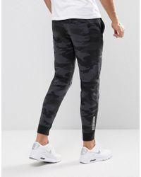 Hollister - Cuffed Joggers Skinny Fit Leg Logo In Black Camo for Men - Lyst