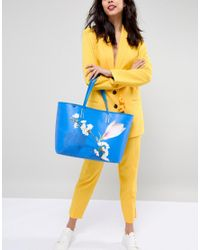Ted Baker - Blue Coated Tote Bag In Harmony Floral - Lyst