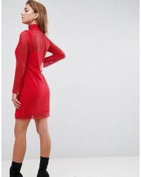ASOS | Red High Neck Lattice Mini Dress | Lyst