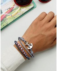 ASOS - Blue Nautical Bracelet Set In Navy - Lyst