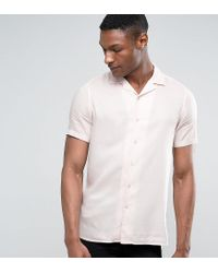 ASOS - Tall Oversized Viscose Shirt With Revere Collar In Pink for Men - Lyst