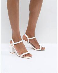 56d5bebec36 Glamorous White Block Heel Sandals in White - Lyst