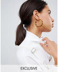 Reclaimed (vintage) - Brown Inspired Tort Hoop Earring - Lyst