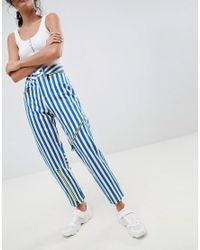 00d9fa5257e ASOS Ritson Rigid Mom Jeans In Stripe With Neon Zip Detail in Blue ...
