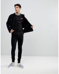 Jack & Jones - Black Originals Long Sleeve T-shirt With Checkerboard Sleeve Print for Men - Lyst