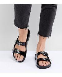 Monki - Black Western Strap Slider Sandal - Lyst