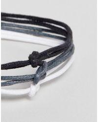 ASOS - Multicolor Triple Bracelet In Black Grey And White - Lyst