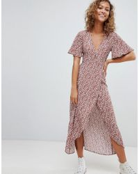 35cd0467a97 Pull Bear Floral Dress In Copper in Brown - Lyst