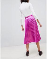 Vero Moda - Pink Pleated Midi Skirt - Lyst
