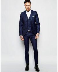 Heart & Dagger | Blue Suit Jacket In Birdseye Fabric In Super Skinny Fit for Men | Lyst